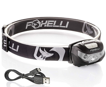 FOXELLI Rechargeable USB Flashlight headlamp
