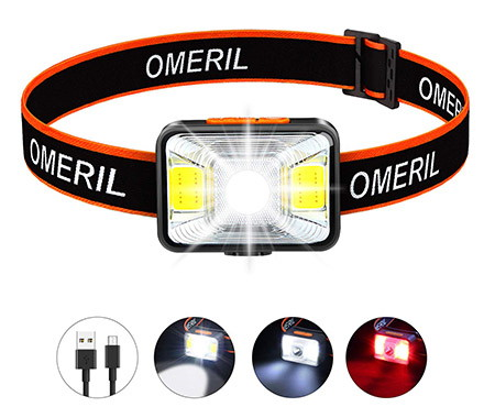 OMERIL Rechargeable LED Hiking Headlamp