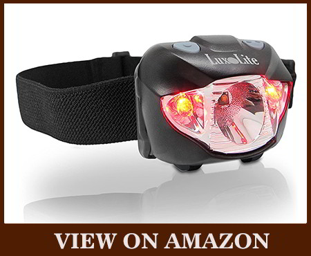 LED headlamp flashlight with a red LED light tactical headlamp
