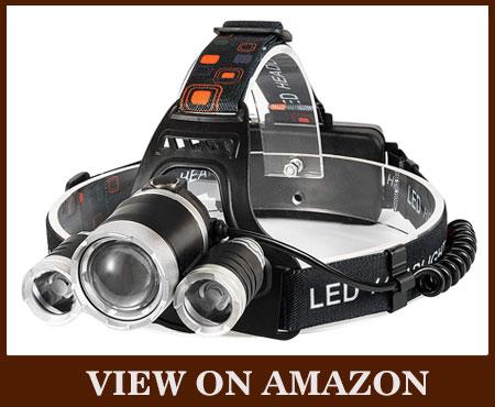 6000 High Lumens Brightest Flashlight Waterproof Hunting Headlamp